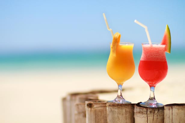 Refreshments on a beautiful Caribbean beach