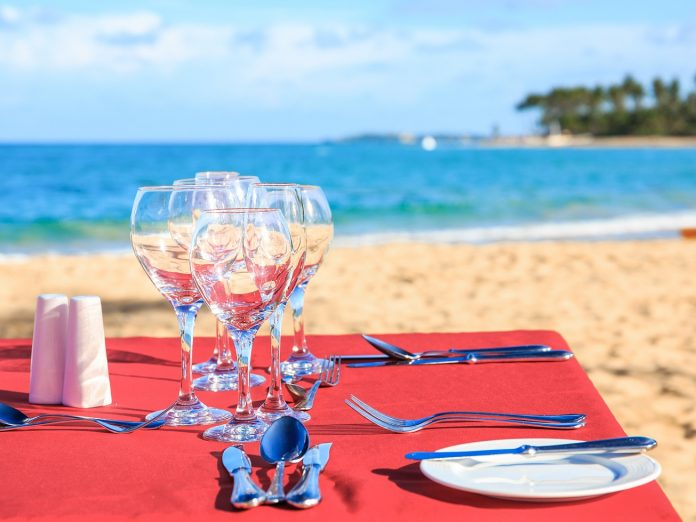 table on the beach at Cayman Cookout