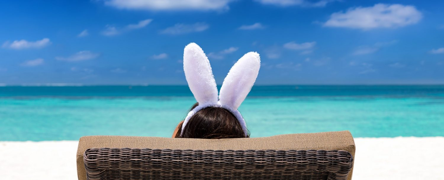 Woman with bunny ears during Easter celebrations on Grand Cayman