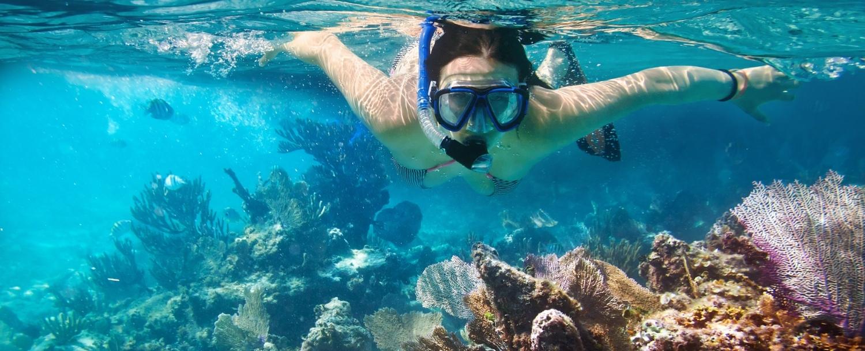 Woman Coral Reef Snorkeling